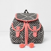 River Island Girls monochrome and Pink stripe backpack