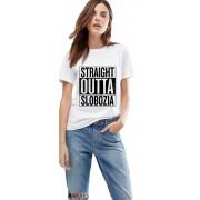 Tricou dama alb - Straight Outta Slobozia