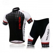 WOLFBIKE BC412 Men'sShort Cycling Jersey Suit - Negro + Blanco (Talla M)