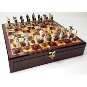 "WW2 Pearl Harbor US vs Japan Chess Set High Cherry & Burlwood Color Gloss Storage Board 17"" World War 2"