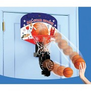 Olly Polly kids high quality Children's NBA All star style Automatic Return Over Door Battery operator Basketball Youth Portable Indoor Basketball Goal Ground Basketball System 2 players Kids game-Gift toy