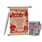 Birthday Gift Combo - Scroll Card, Coffee Mug & Parker Pen