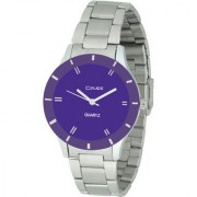 Crude Smart Analog Purple Dial Watch-rg391 With Stainless Steel Strap