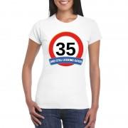 Bellatio Decorations Verkeersbord 35 jaar t-shirt wit dames