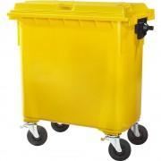 Kunststof afvalcontainer, conform DIN EN 840, inhoud 660 l, b x h x d = 1360 x 1235 x 765 mm