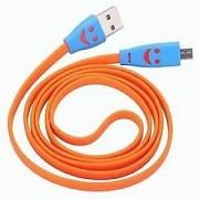 Micro LED Lighting Smile Face Design USB 2.0 Micro Charging Cable 1m - Orange