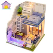 Hoomeda M042 DIY Doll House Miniature Furniture Kit Model Sapphire Love 21CM Collection Gift