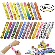 Zilong 72 Pack Slap Bracelets Party Favors Pack (24 Designs) with Colorful Hearts, Animal, Emoji, Valentine's Party Favor for Kids and Adults