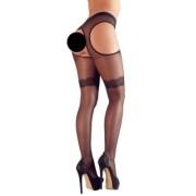 Cottelli Collection Sex Strumpfhose – sexi zvlnené pančuchy (čierne)