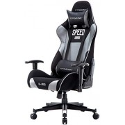GTRACING Gaming Chair Computer Racing Chair PU & Mesh High Back Backrest and Height Adjustable E-Sports Ergonomic Chair with Pillows GT000 Gray