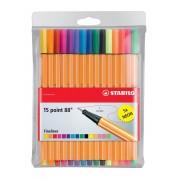 Stabilo fineliner Point 88, 15 kleuren