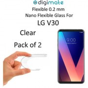 Digimate Nano Clear 0.2 mm Screen Guard Protector Flexible Glass for LG V30 (Pack of 2)
