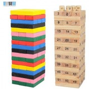 54PCS/set Wooden Tower Building Blocks Toy Rainbow Domino Stacker Board Game Folds High Montessori Educational Children