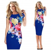 Vestido LáPiz Estampado Floral Ajustado-Azul