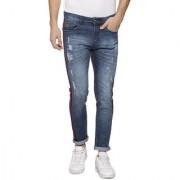 Campus Sutra Men Shaded Side Red Stripe Stitching Denim Jeans