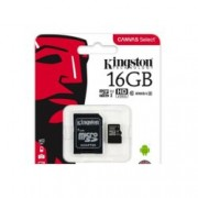 16GB microSDHC, с SD адаптер, Kingston Canvas Select, Class 10, скорост на четене 80MB/s, скорост на запис 10MB/s