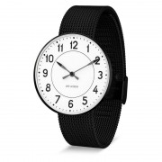 Arne Jacobsen Clocks Armbandsur Station Vit/svart/matt svart 40 mm Arne Jacobsen Clocks