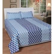 Home Castle 154-TC Cotton Premium Designer 150 Thread Count Double Bedsheet With 2 Pillow Covers (Set of 1)