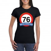 Bellatio Decorations Verkeersbord 76 jaar t-shirt zwart dames