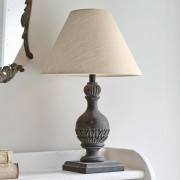 LOBERON Tafellamp Noredien / grijsbruin/linnen
