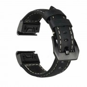 Genuine Leather Watchband Replacement Strap for Garmin MARQ Series/Fenix5/5X/5S/Forerunner945/Approach S60 - Black