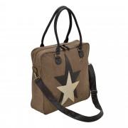 Corium® Дамска чанта от лен 40 x 40 x 10 см.- тъмнокафява