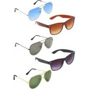 Zyaden Aviator, Aviator, Aviator, Wayfarer, Wayfarer Sunglasses(Blue, Green, Green, Brown, Black)