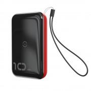 Baseus Mini S Konzol Power Bank 10000mAh 18W vezeték nélküli töltő Qi 10W piros (PPXFF10W - 19)