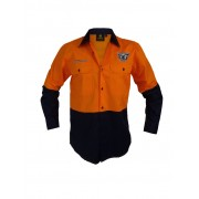 NRL Sea Eagles L/S Hi Vis Work Shirt - Orange 2XL
