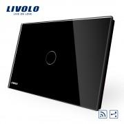 Intrerupator cap scara/cruce wireless cu touch Livolo din sticla - standard italian, negru