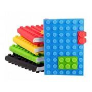 Shopkooky Cute Creative Attractive Lego Diary Memo Pad with 2 Locks Straps, Random Colour (Pack of 4)