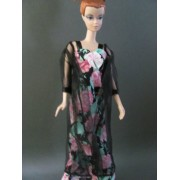 Barbie Doll Clothes : 2 Pc Black Flower Night Gown Fit 11.5 Inch Barbie Dolls