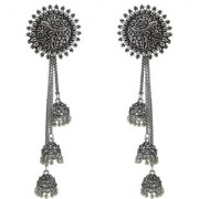 Desire Collection Long Chain German Silver Earrings Jhumka Jhumki Oxidised Silver Plated Earrings For Girls Women