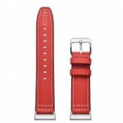 Genuine Leather Coated Smart Watch Band Strap for Fitbit Charge 4 / 3 - Red
