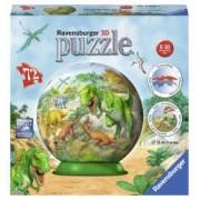 Puzzle 3D Dinozauri 72 Piese din plastic numerotate + suport puzzle