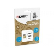 Microsdhc 16go emtec +adapter cl10 gold+ uhs i 85mb/s sous blister compatible Lg G4s