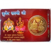 only4you KUBER LAXMI YANTRA GOLDEN COIN IN CARD FOR TEMPLE HOME PURSE AG