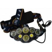 Lanterna de cap cu 8 LED-uri T6+COB+XPE 2 Acumulatori 3.7 V 8 moduri de iluminat banda flexibila