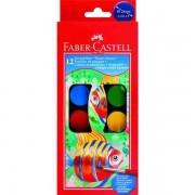 Acuarele 12 culori Pensula Faber-Castell pastila de 30 mm