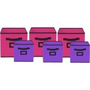 Billion Designer Non Woven 6 Pieces Small & Large Foldable Storage Organiser Cubes/Boxes (Pink & Purple) - CTKTC35372 CTLTC035372(Pink & Purple)