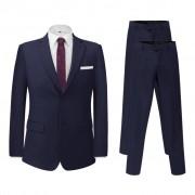 vidaXL Pánsky dvojdielny formálny oblek s 2 nohavicami, námornícka modrá, veľkosť 48 (131128+131146)