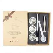 RECAPS Stainless Steel Refillable Nespresso Capsules Reusable Pods for Nespresso Machines (3 Pods + 120 Lids + 1 Tamper)