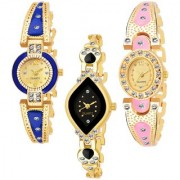 Varni Retail Gold Blue Round Gold Light PINK Oval Black Cross Rectangle up Diamonds 3 Combo Watch For Girls