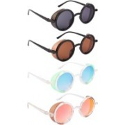NuVew Round, Shield Sunglasses(Black, Brown, Green, Blue, Red, Golden)