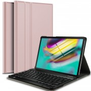 For Samsung Galaxy Tab S5e SM-T720 Bluetooth Keyboard and Detachable Leather Cover - Rose Gold