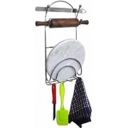 Chrome Plated Mild Steel Chakla Belan Stand with Hooks 2quarts Stainless Steel