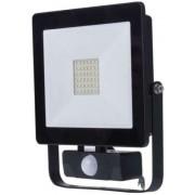 Proiector LED Slim cu senzor de miscare, 30W, IP65, negru, 30000 ore, 6500 K, rece