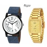 Mark Regal Denim Leather Strap+Rectengle Golden Men's Quartz Watches Combo