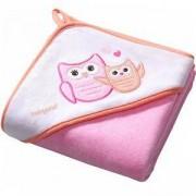 Бебешка велурена хавлия с качулка с подарък гъба за баня, 138/01 Babyono, 5901435406854