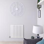 Hudson Reed Radiateur design électrique horizontal - Blanc - 63,5 cm x 63 cm x 4,6 cm – Delta